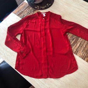 H & M Red button front blouse
